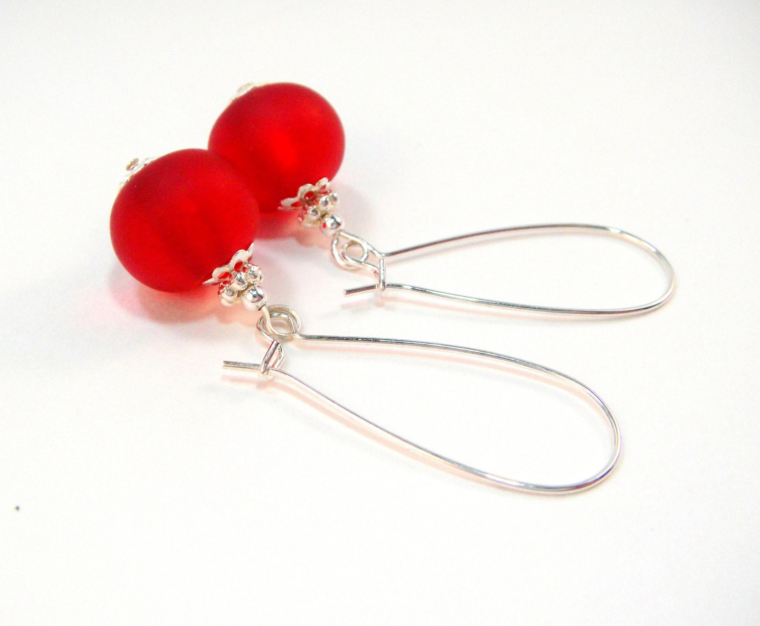 Red Earrings, Silver Earrings with Red Matte Sea Glass and Silver Accent Dangles - Cherry Red Dangle
