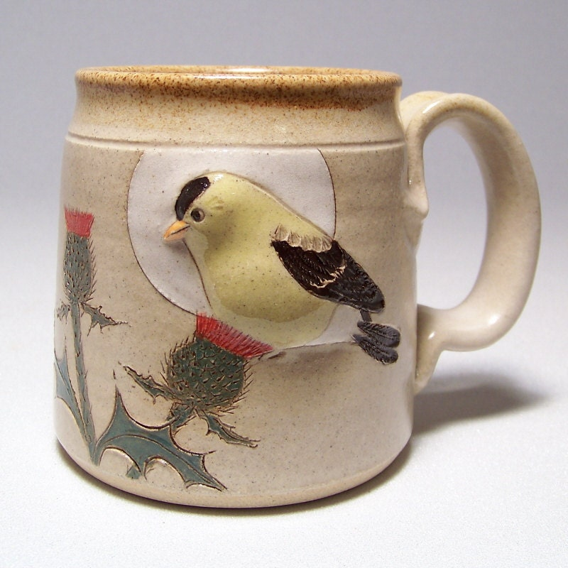 Goldfinch and Thistle Pottery Coffee Mug Limited Series 112 (microwave safe)