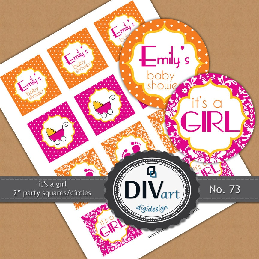 "PRINTABLE Baby Shower Party - 2"" party picks, cupcake toppers, party tags, stickers - polkadots, damask - pink, yellow, orange - No. 73"