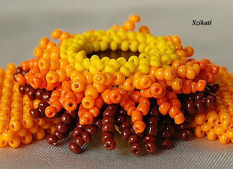 Beaded yellow orange brown bracelet, fall fashion, OOAK