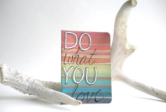 Lined Pocket Journal - Rainbow Stripes - Under 25 -  Do What You Love - FREE SHIPPING