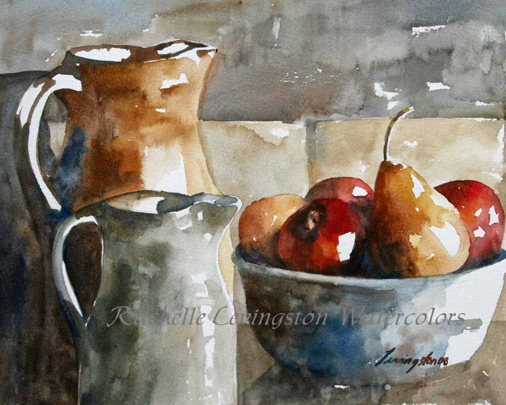 Pear and Apple art print (Large watercolor pear and apple art PRINT 11 x14) in red blue gold yellow