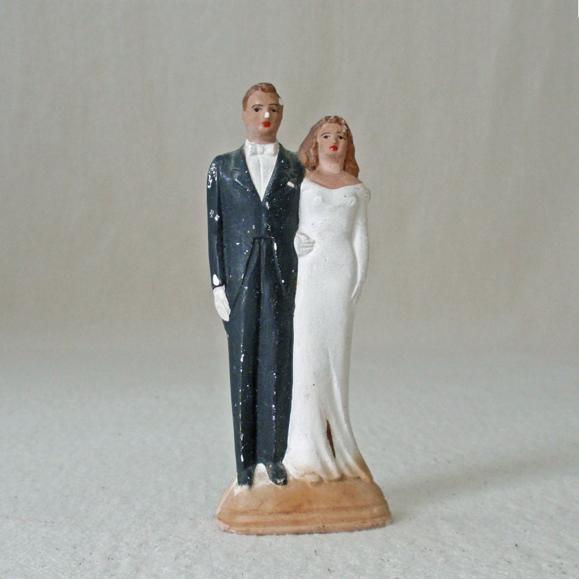 Vintage Plaster Bride and Groom Wedding Cake Topper From RattyAndCatty