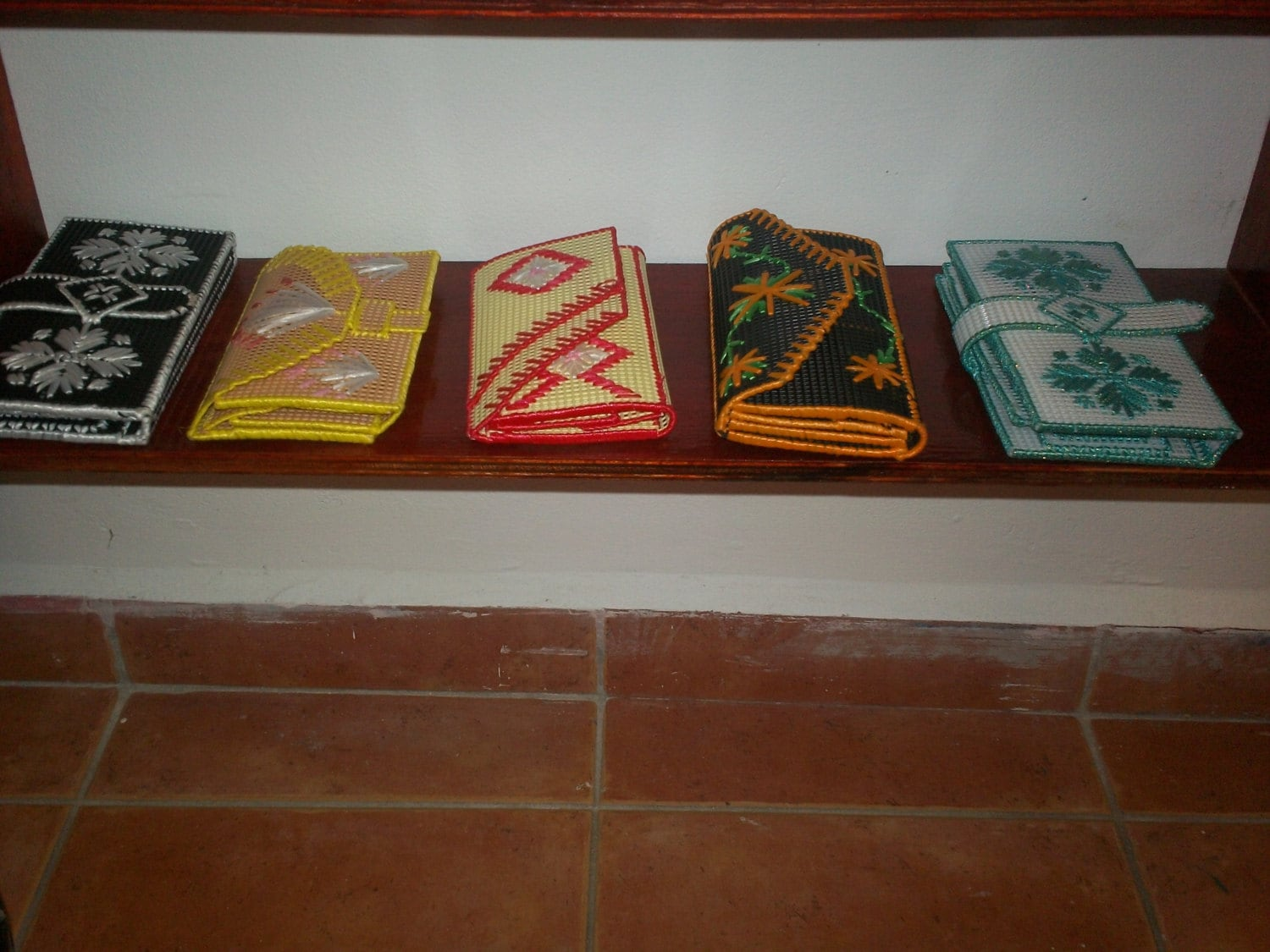 Wallets made by local Indiginous  Indians  Hand stitched Flower Patterns
