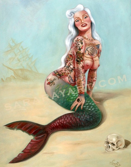 Pin Up Style Mermaid Tattoo