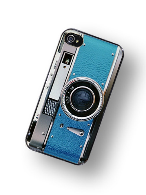 iPhone Case Retro Teal Blue Camera Hard Phone Case / Fits Iphone 4, 4S - TheCuriousCaseLLC