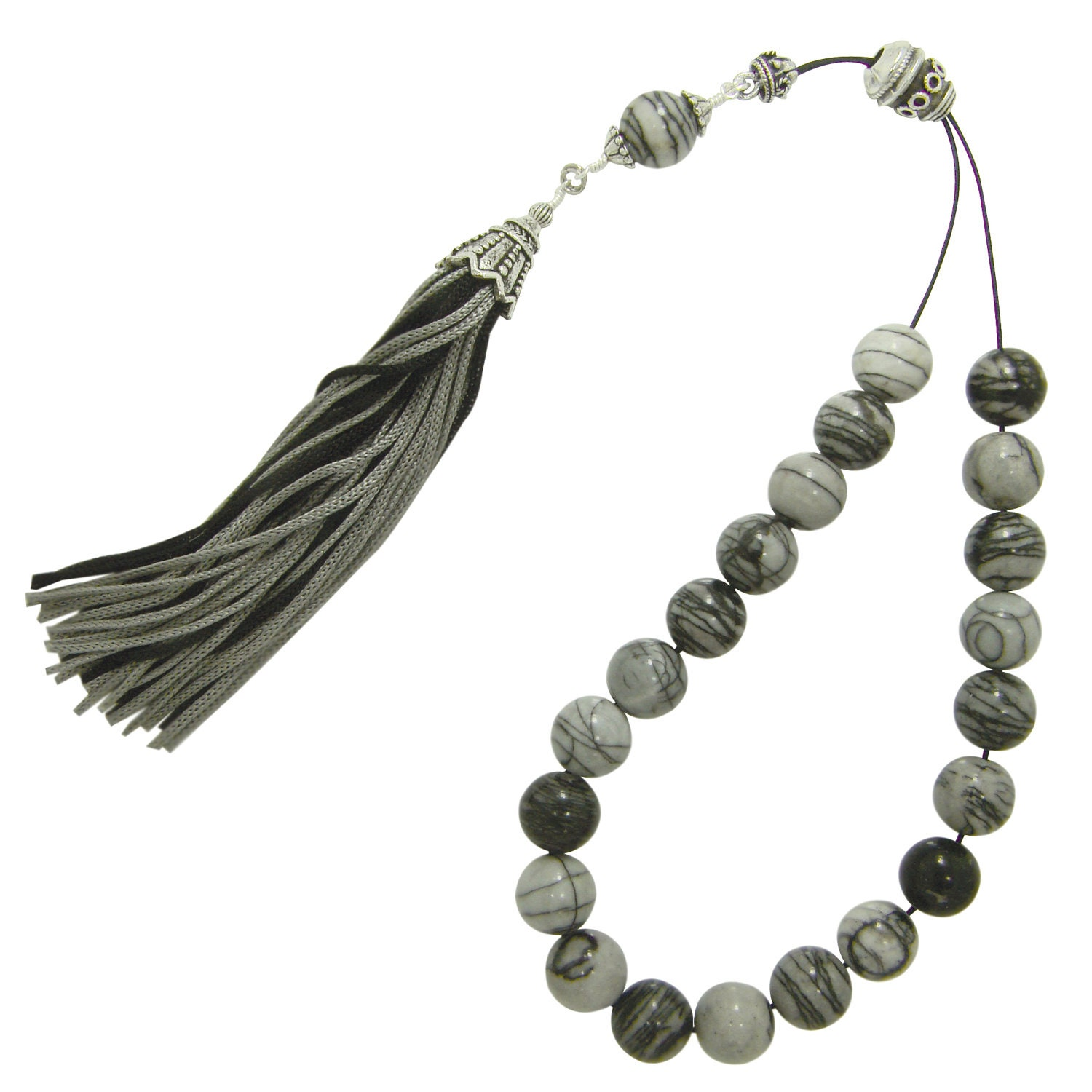 Greek Komboloi Worry Beads Rare Natural Jasper Beads with Original Shield Bead & Modern Tassel