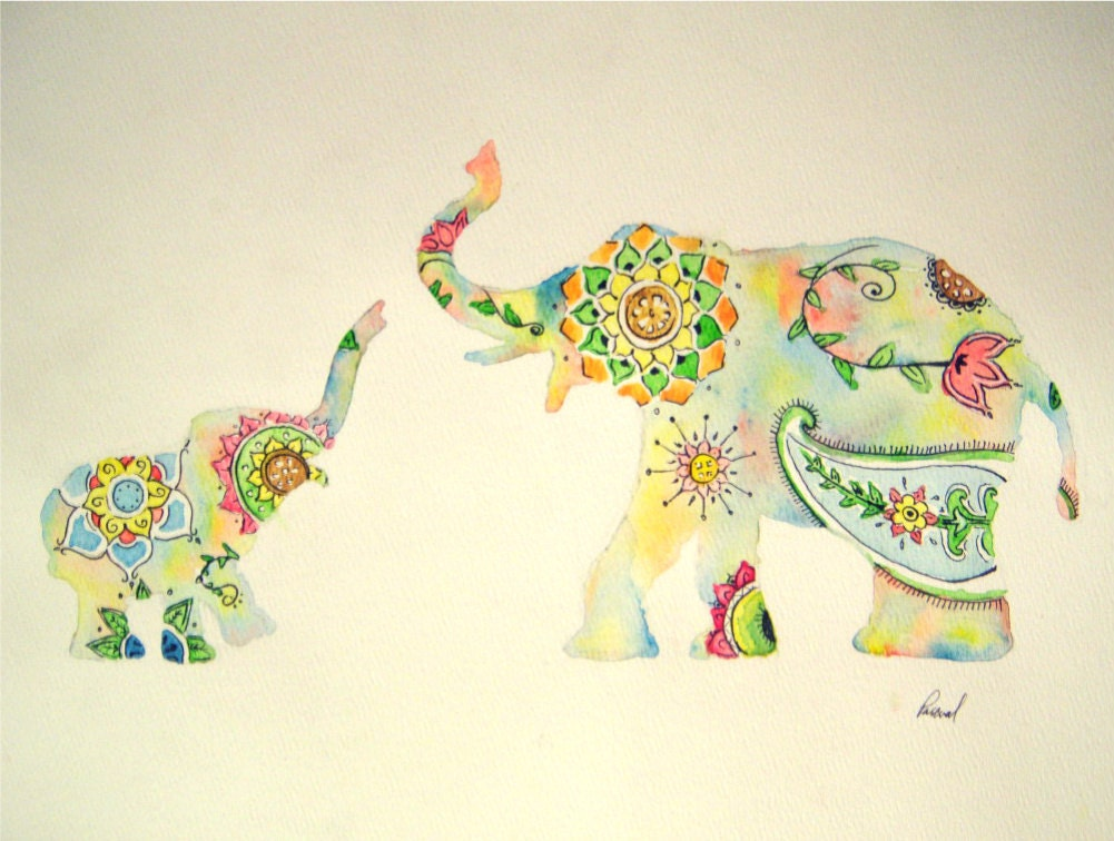 "Elephant Watercolor Painting, Colorful Design Print, Indian Style Mother Baby, 11 x 14"" - PascualProductions"