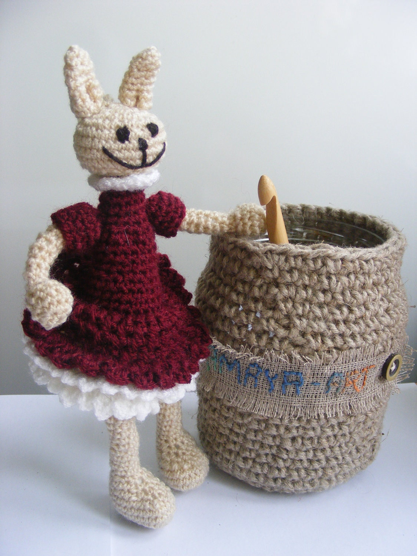 bunny girl in claret dress, crochet toy,  rabbit - AmayArt