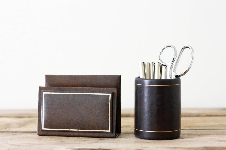 Vintage Leather Desk Set