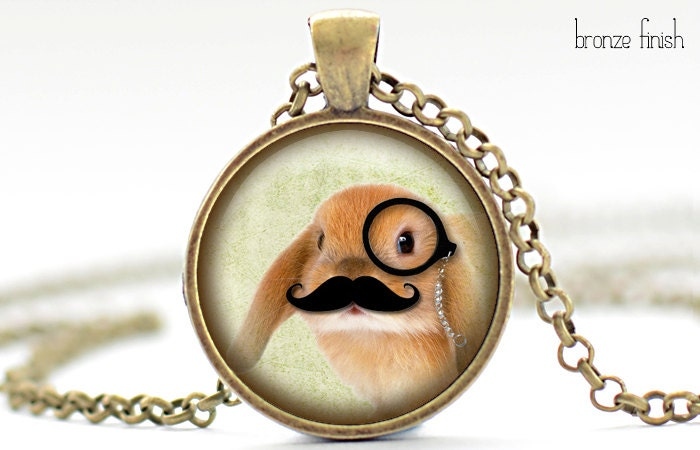 Bunny with a Mustache and Monocle Necklace, Rabbit Art Pendant, Bunny Jewelry, Rabbit Charm (602)