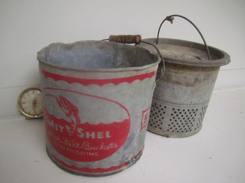 Vintage Galvanized Minnow Pail