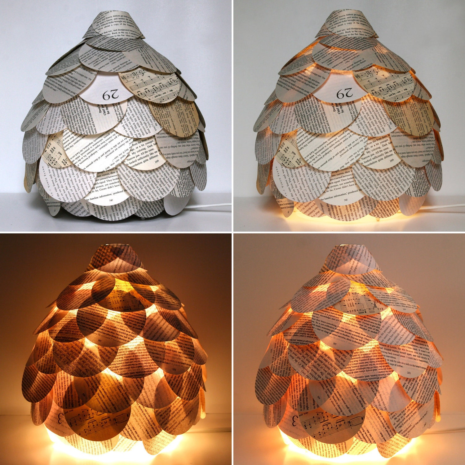 Mixed Book Page Table Lamp - Paper Lantern Light