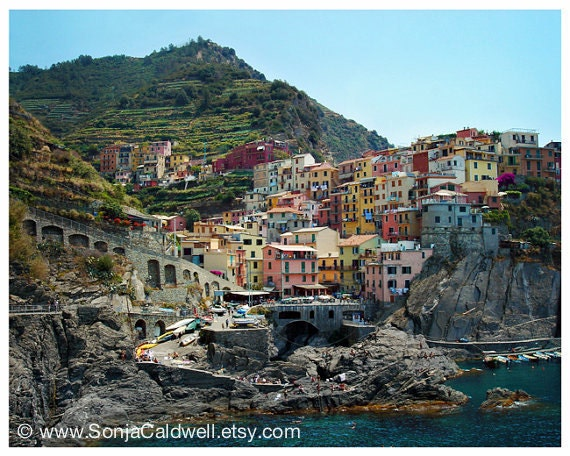 "Hot Summer Day in Cinque Terre - Mediterranean travel photography,  Italian Riviera 8"" x 10"" Original Signed Fine Art Photograph"