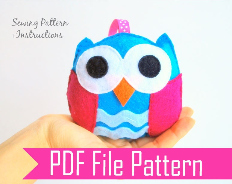 Baby Owl Plush toy, Rattle baby toy  PDF Sewing pattern , Kids craft Project A668