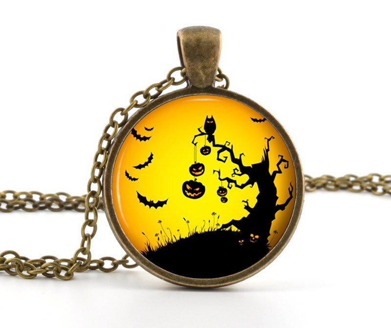 Halloween Pendant - Necklace - Halloween Jewelry - Spooky Owl Bats Pumpkins in Sunset Halloween Art - Gift Bag Included - BazingaJewellery