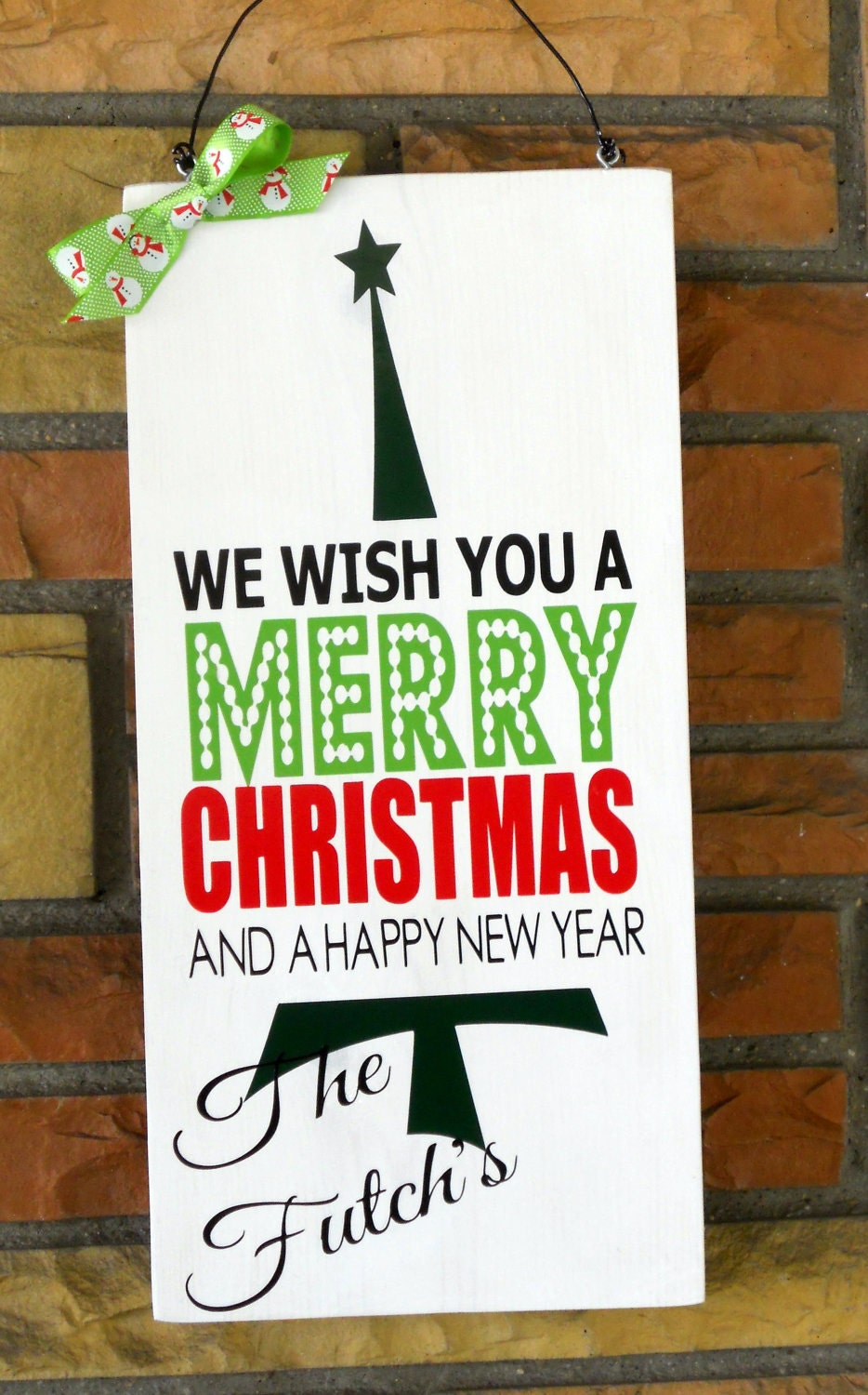 "9 1/4x 19"" Wooden Handpainted Sign We Wish You Merry Christmas Sign Vertical WIth Personalized Family Name"