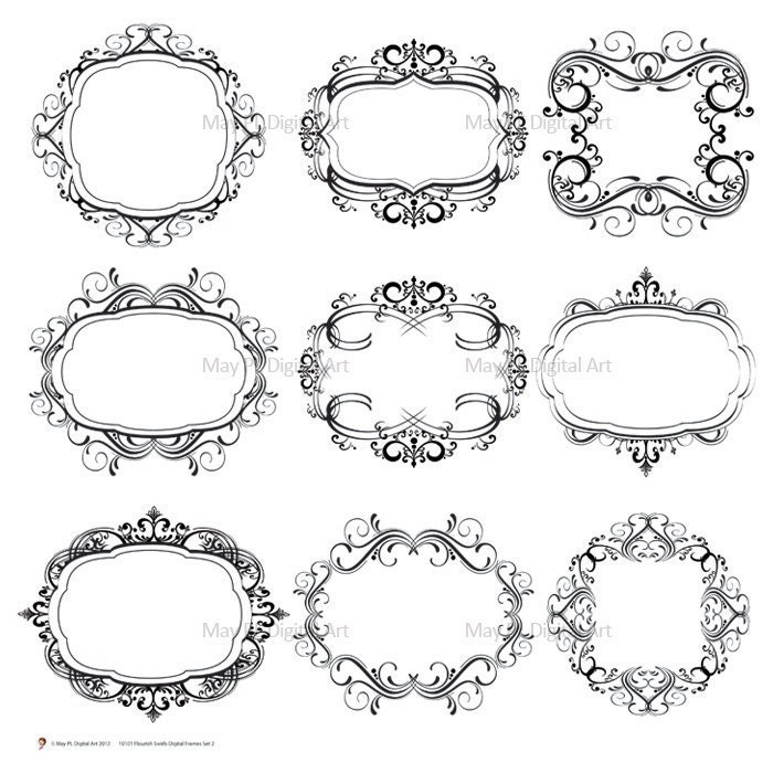 Digital Scrapbook Frames Border Clipart Frame Flourish Damask Vintage