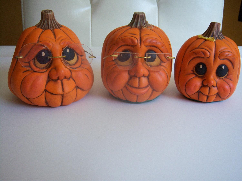Vintage handmade Ceramic Pumpkins Adorable Trio Pappa, Mamma, Baby