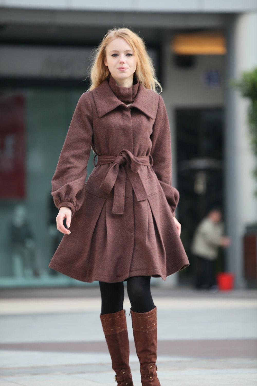 نفیس قهوه ترمه کت دو قلاده لباس سبک پشم کت کت زمستانی برای زنان - NC239