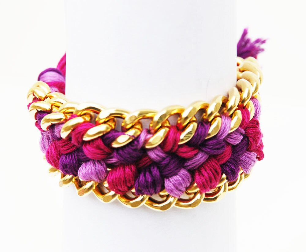 SALE Fuchsia and Purple Woven Friendship Bracelet Chain Cuff with Crystal Pave