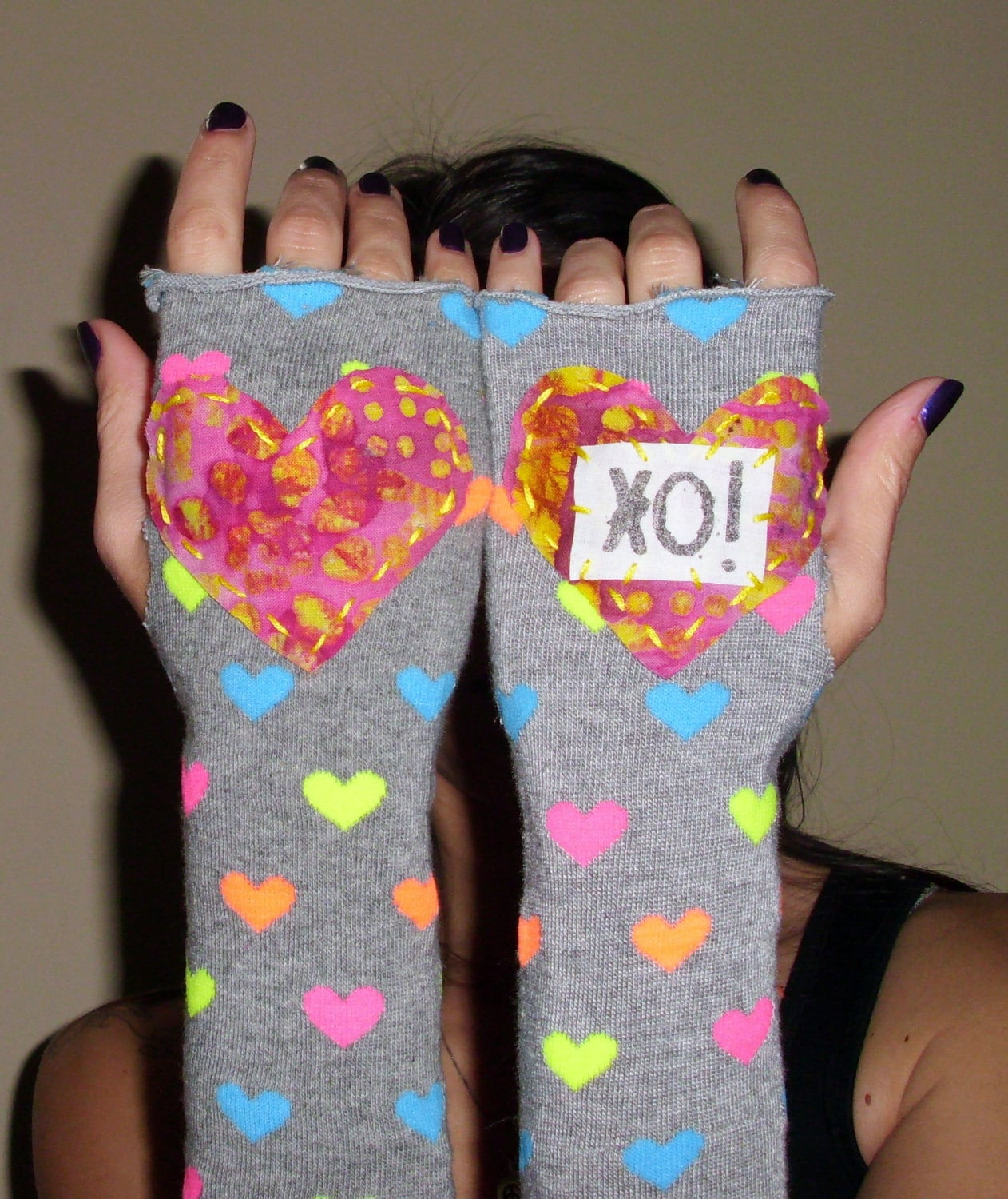 XO Hugs and Kisses Funky Arm Warmers Fingerless Gloves