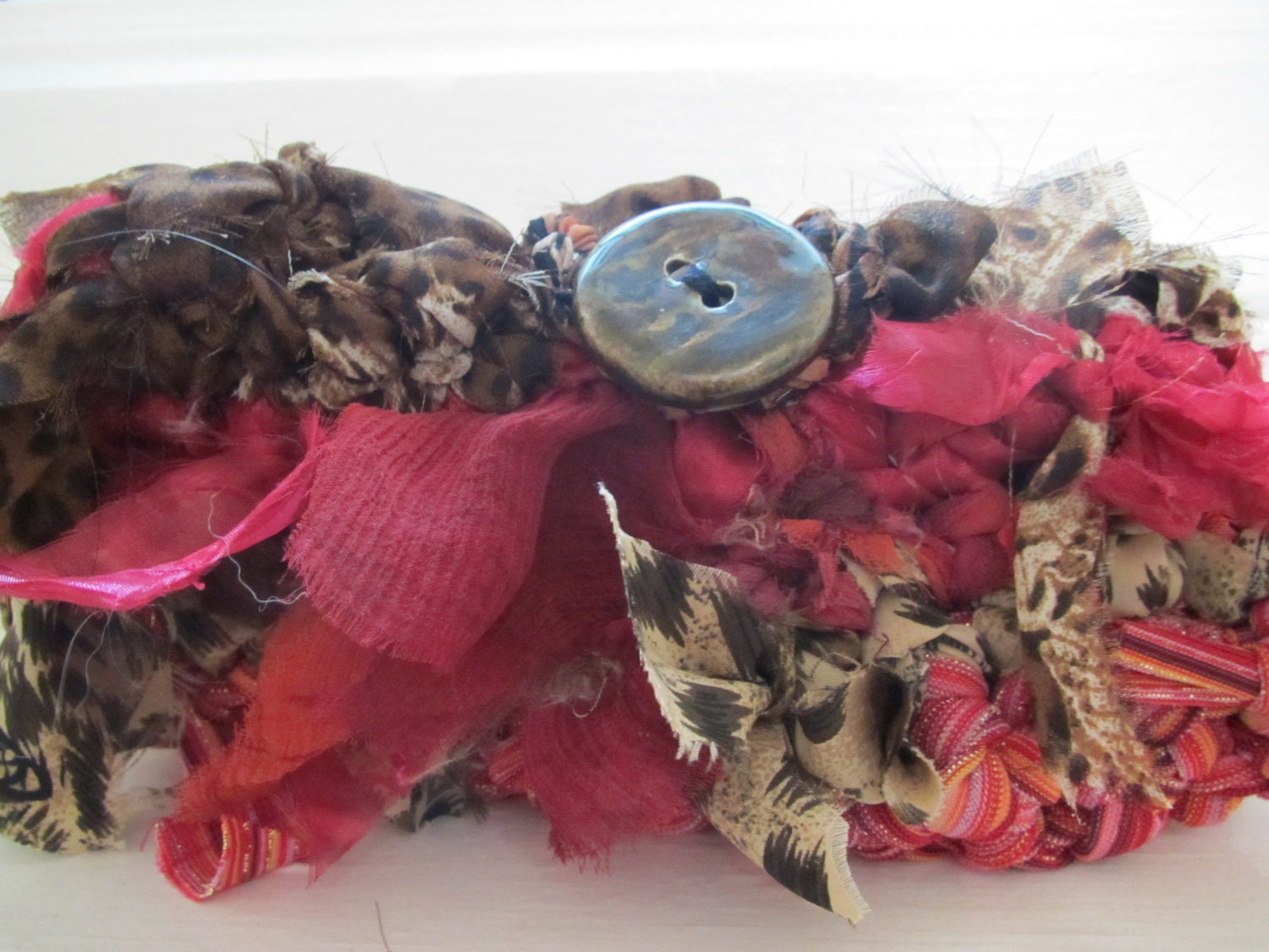 "One of a Kind ""Mini Clutch"" style TeeBag, Pinks and Browns with Animal Print created from recycled apparel."