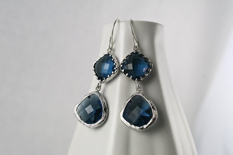 Blue Sapphire Earrings - Silver and Blue - Wedding Jewelry - Bridal Earrings
