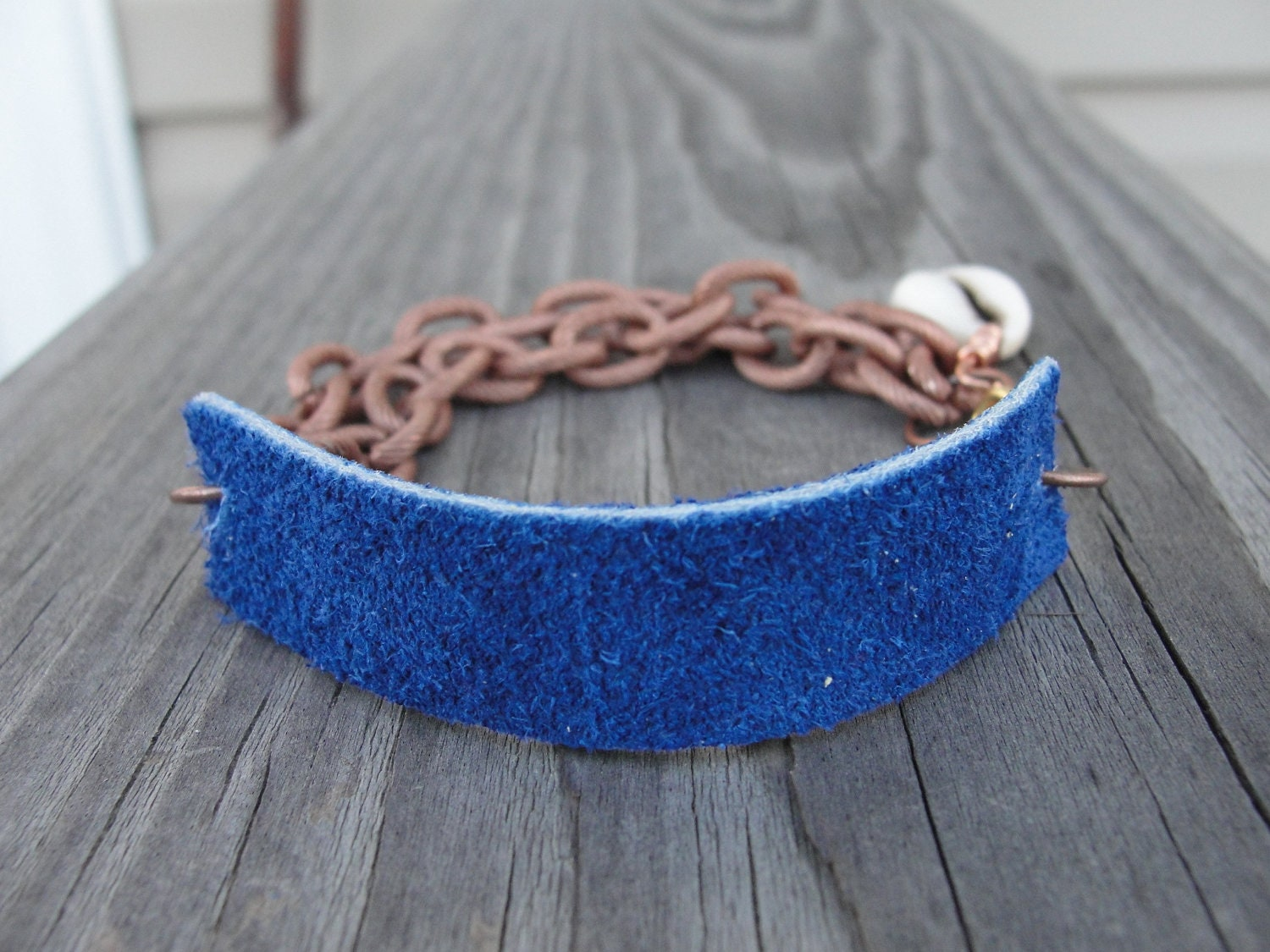 Blue Leather Copper Chain Cowrie Shell Cuff Bracelet