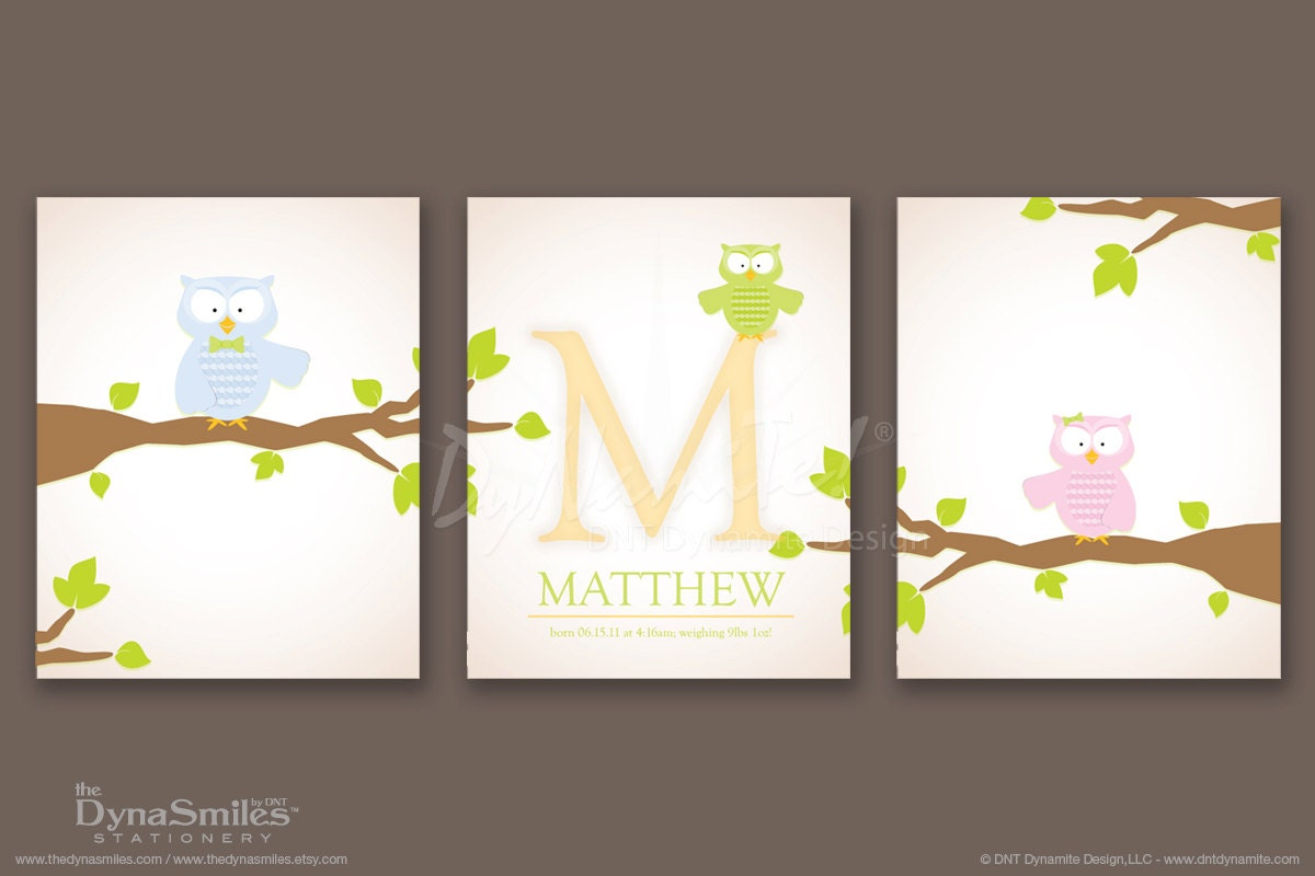 Boy's Personalized Owl 3pc Set Monogram Birth Announcement Nursery Wall Art - 8x10 Print
