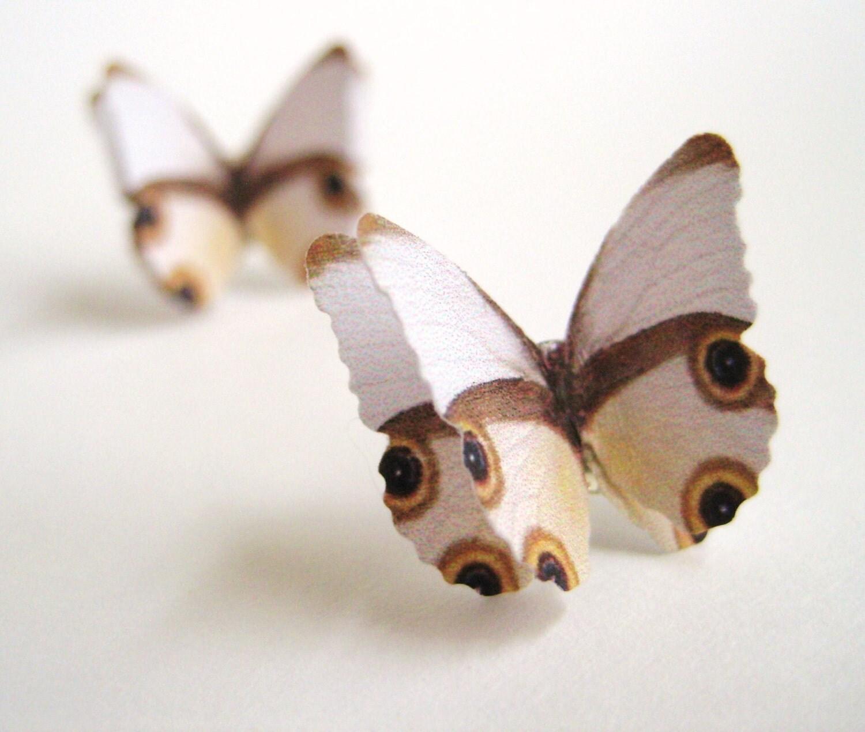 White Butterfly Post Earrings Butterfly White Stud Earrings 3D