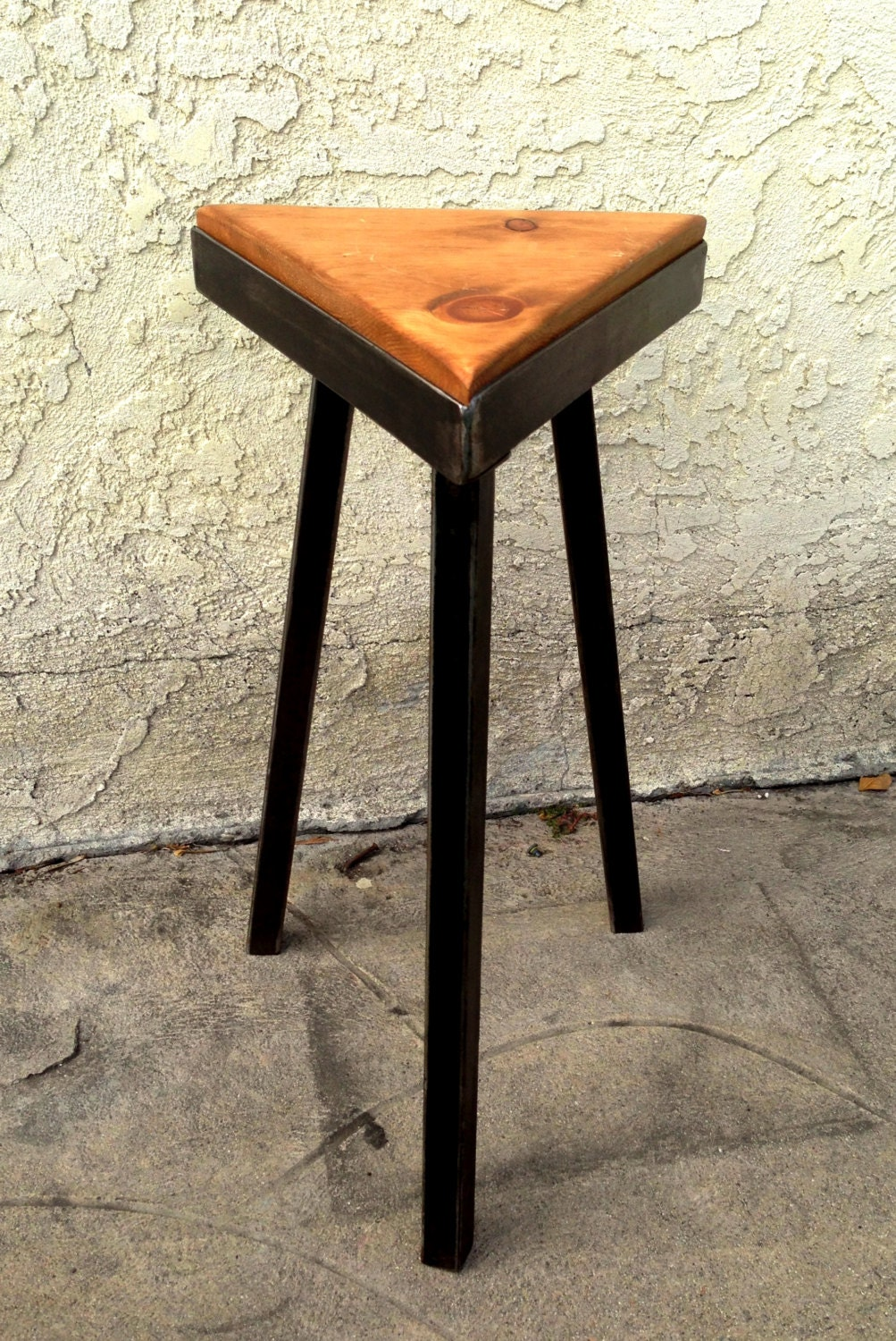 Reclaimed wood and metal triangle stool - justyna29