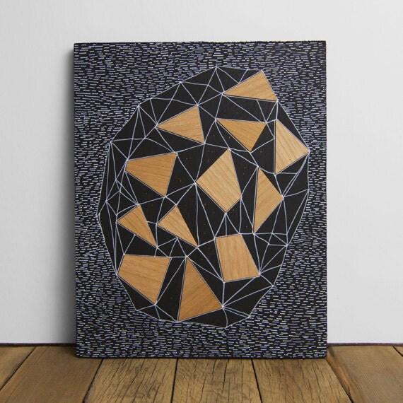 """Geode 1 - Original 8"""" x 10"""" Art, Wood Veneer & Illustration on Matte Black Wood Panel - WoodAndPaperCo"""