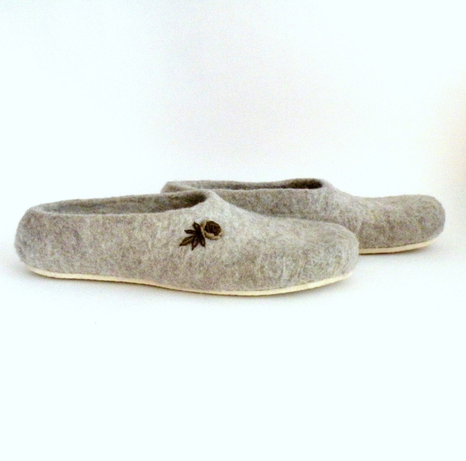 Felted slippers Neutral - natural beige with brown roses - made to order - eco mothers day - eco friendly - AgnesFelt