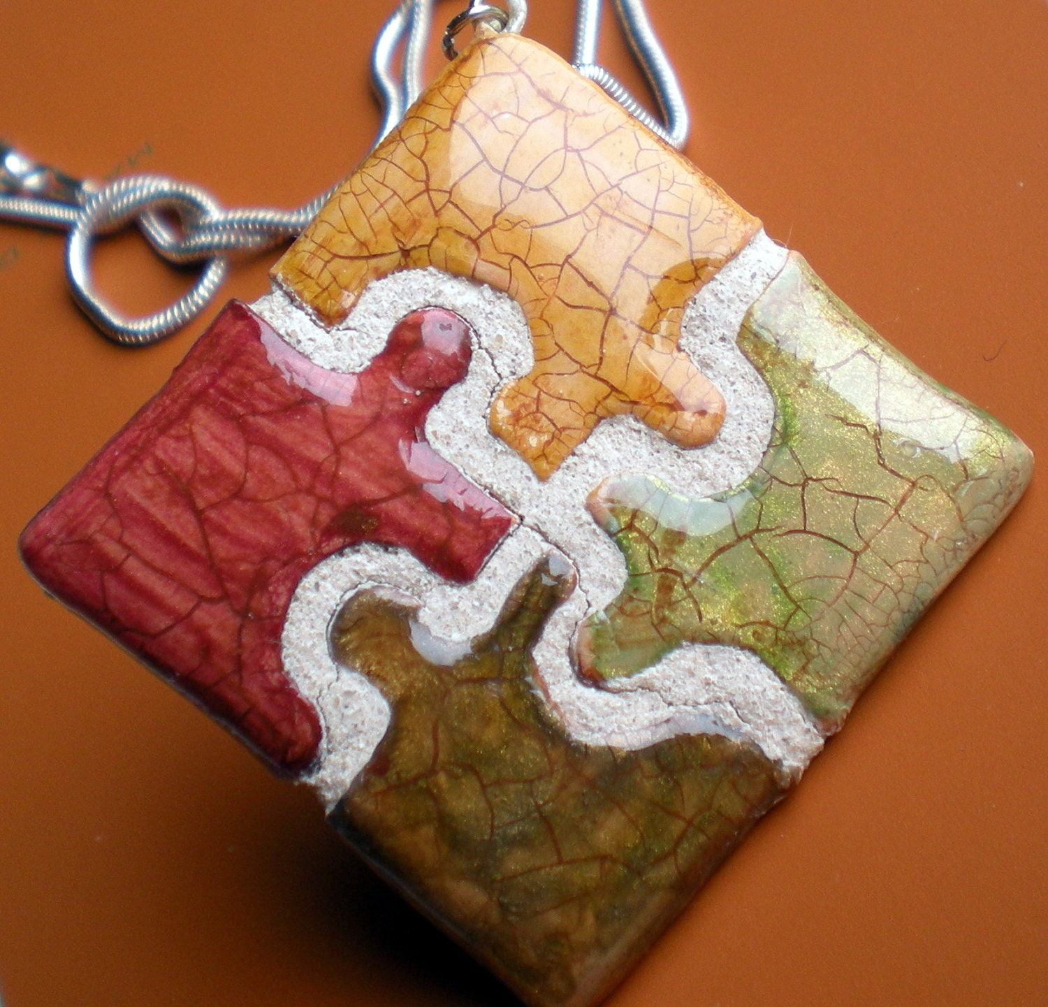 Puzzle Piece Necklace REVERSIBLE Diamond shaped Fall Colors
