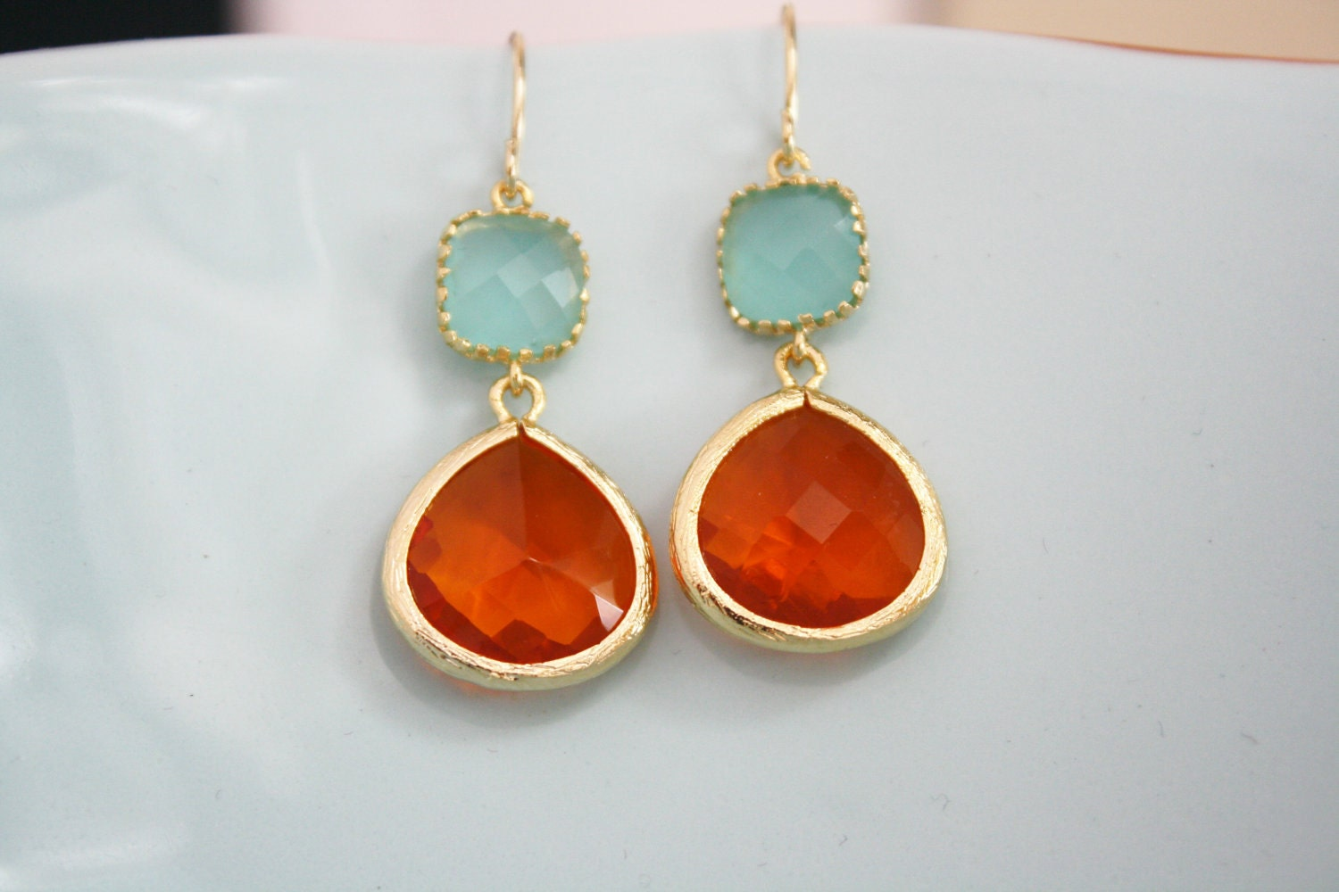 Tangerine Orange Tiffany Blue Glass Earrings, Bridesmaids Jewelry, Bridal Jewelry, Wedding Jewelry