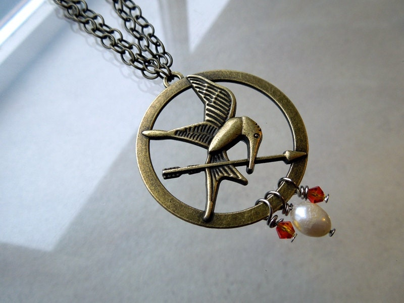 Hunger Games - Mockingjay Necklace - Girl on Fire - Fire is Catching - Long Necklace
