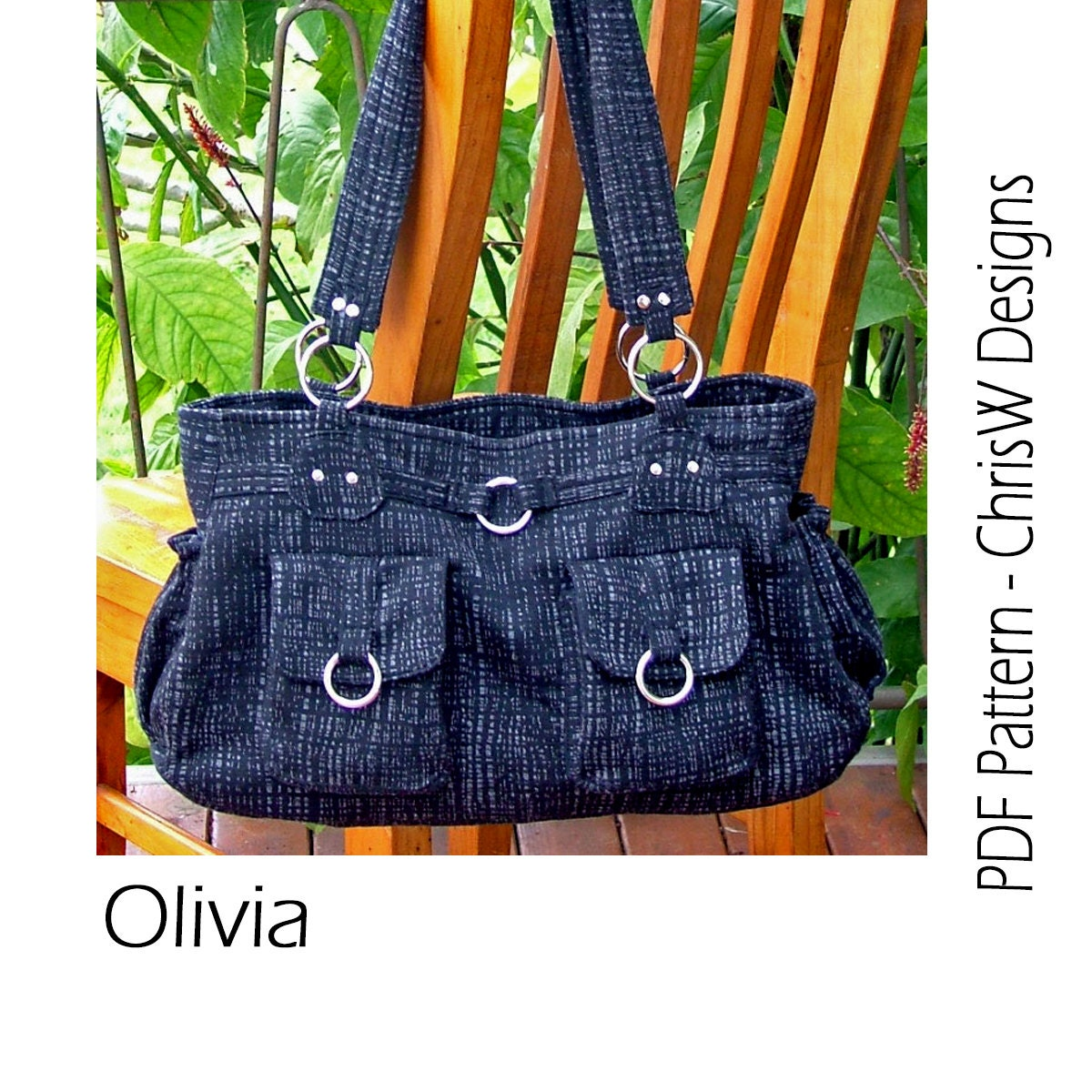 Free Purse Patterns To Download : Purse PDF pattern for a Handbag Olivia bag with by ChrisWDesigns