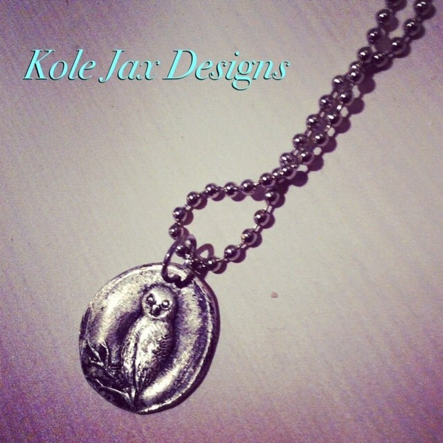 Owl pure silver stamped wax seal pendant