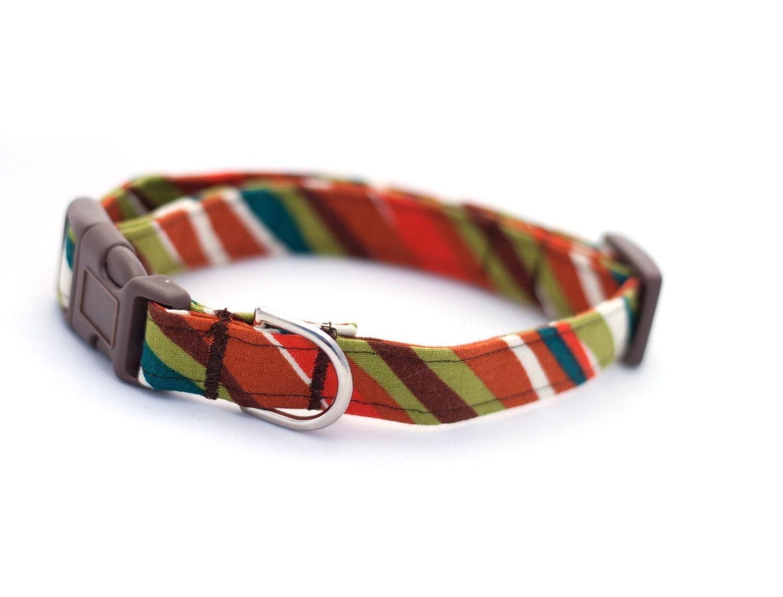 Handmade Dog Collar Brown Stripe - CamargoCreations