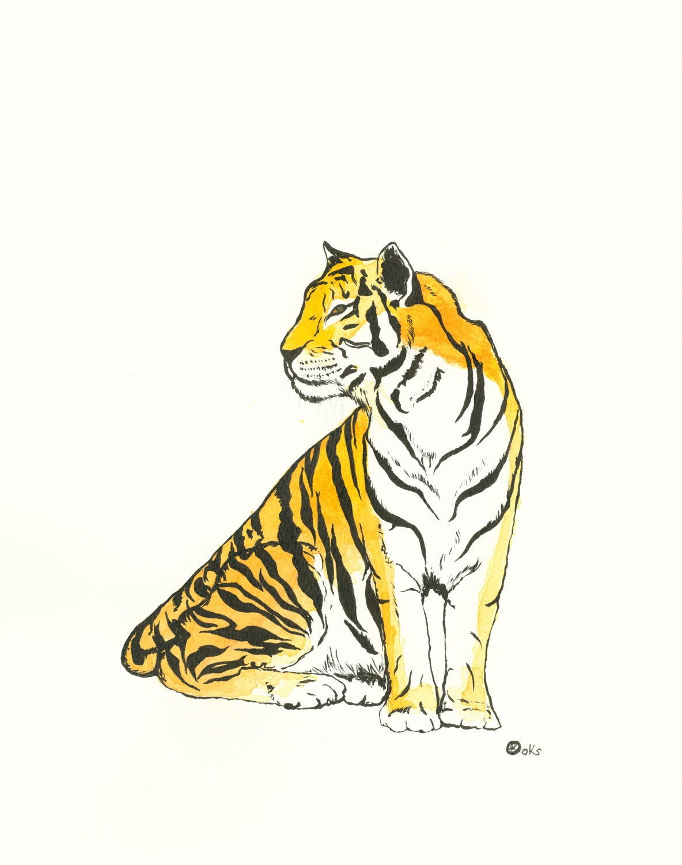 "Metal Art Print-""Shere Kahn""-Watercolor Tiger-9.5x12-Wall Hanging - kroksg"