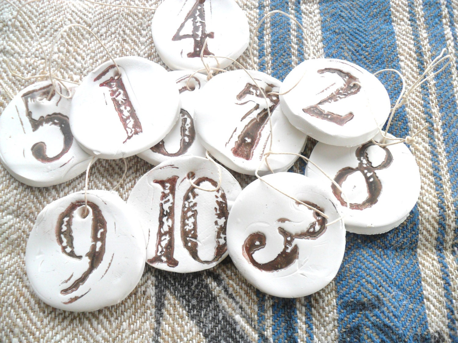 VINTAGE INSPIRED FADED  number tags