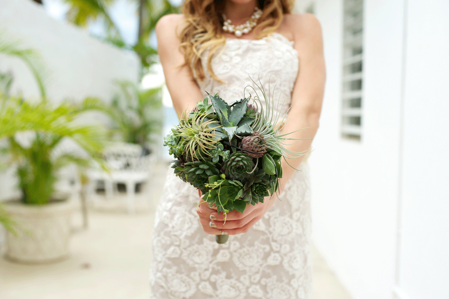 Bridal bouquet. succulents, air plants, agave - bohemianbouquets