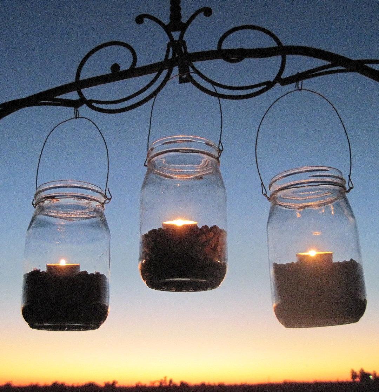 Autumn Candle Jars Hanging Mason Jar Fall Lanterns Luminaries 3 Corn Harvest Glass Tea light Jars Upcycled Garden Halloween Party Wedding