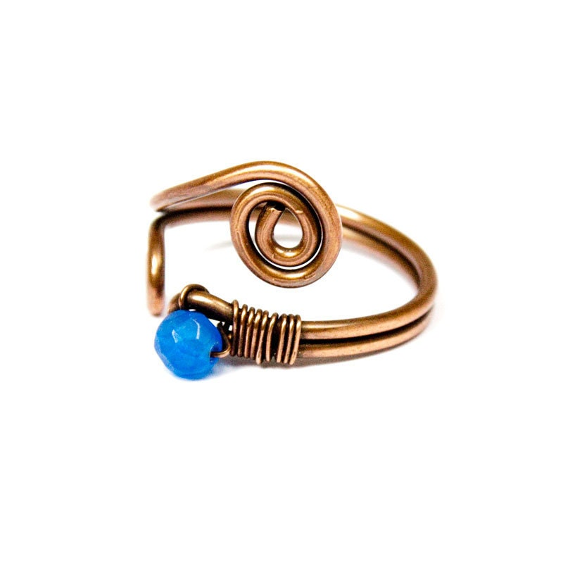 Wire Ring in Copper with Tiny Blue Jade