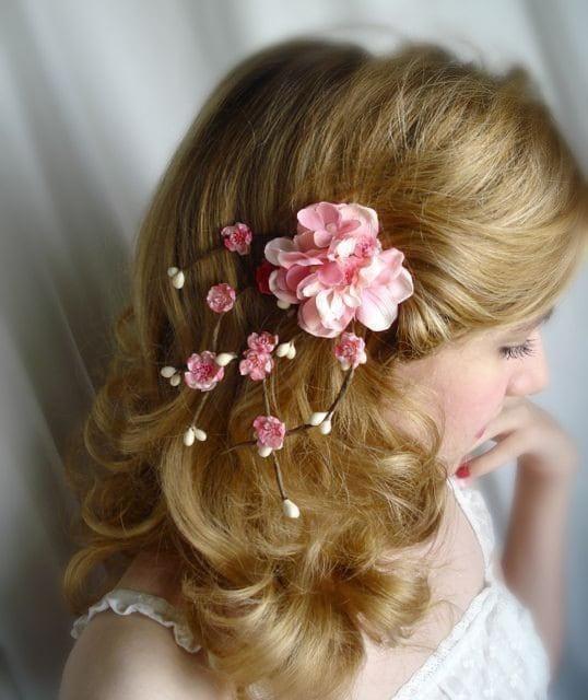 pink cherry blossom hair accessory - SAKURA - bridal flower hair clip