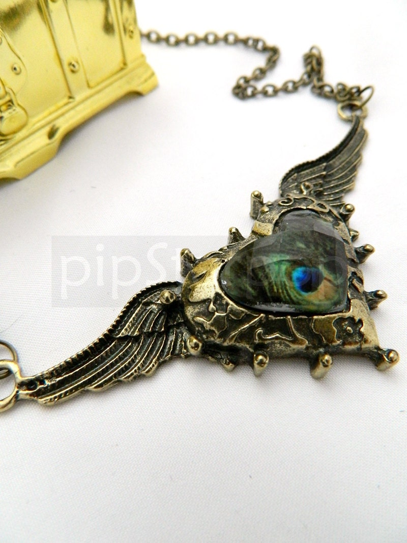 STEAMPUNK necklace - Victorian Bronze Winged heart pendant with encased acrylic gem - Neo Classical baubles and Jewelry - PipStarPop