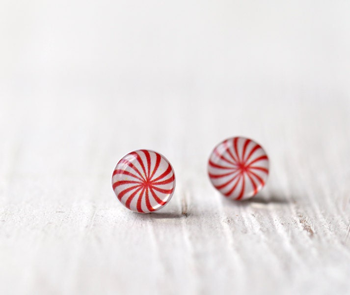 Peppermint stud earrings - Christmas jewelry - Candy jewelry for her (E099) - BeautySpot
