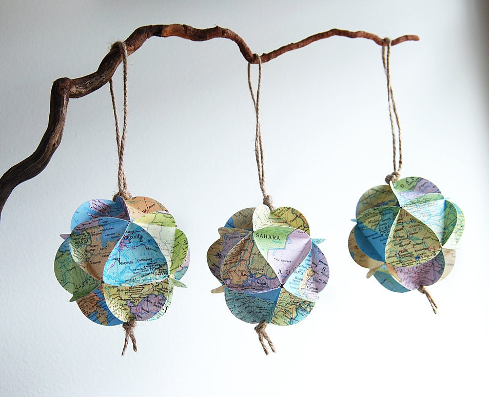 Upcycled Atlas Ornaments