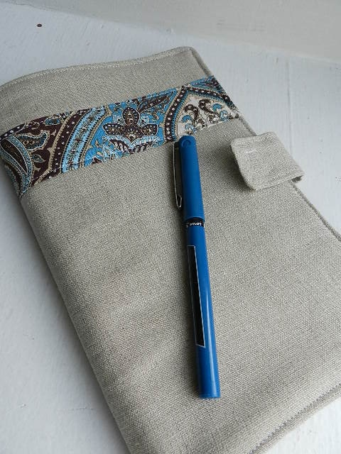 Making a List - Bookkeeping Time - Quilted Portfolio (Paisley Blue Brown Linen)